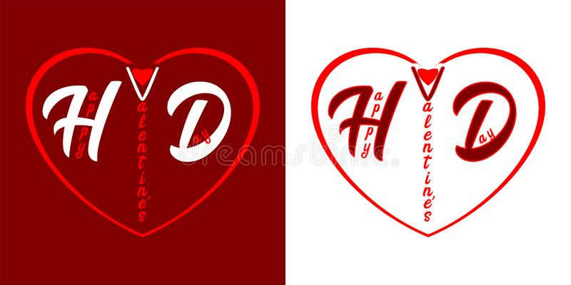 Happy Valentine`s Day - letters in the heart on red and white background royalty free illustration