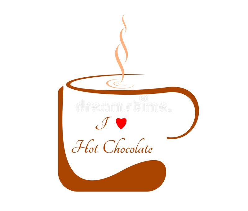 Brown mug of hot chocolate on a white background. Graphics on the website, menu or advertising banner. Brown mug of hot chocolate on a white background. Caption stock illustration