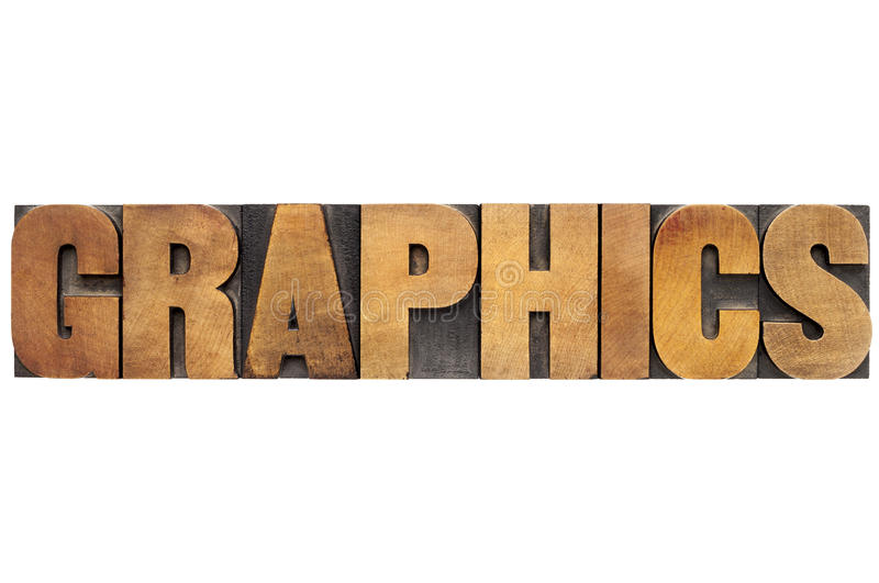 Download Graphics word in wood type stock illustration. Image of graphical - 35418432