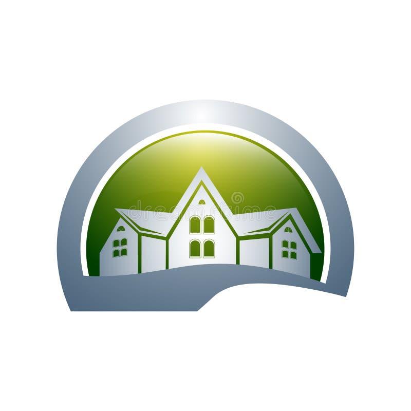 Graphique à la maison abstrait Logo Design Set de symbole de vecteur d'icône de cercle illustration libre de droits