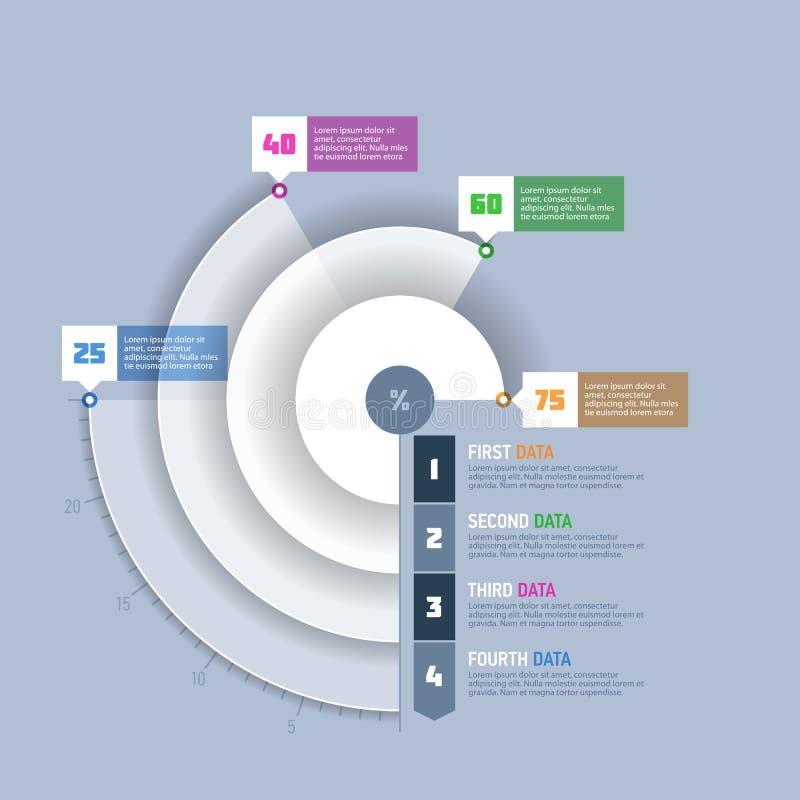 Graphique circulaire, élément d'infographics de graphique de cercle illustration libre de droits