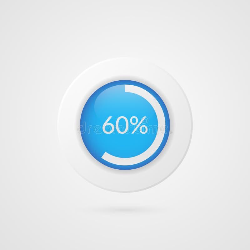 graphique circulaire bleu de 60 pour cent Infographics de vecteur de pourcentage Icône d'illustration d'affaires pour la présenta illustration libre de droits