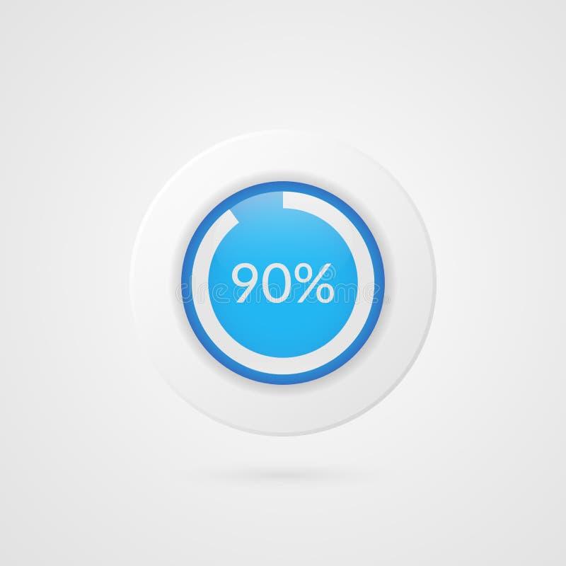 graphique circulaire bleu de 90 pour cent Infographics de vecteur de pourcentage Quatre-vingt-dix symboles d'isolement par diagra illustration libre de droits