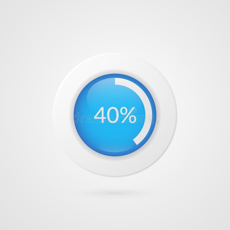 graphique circulaire bleu de 40 pour cent Infographics de vecteur de pourcentage Symbole d'isolement par diagramme de cercle Icôn illustration libre de droits