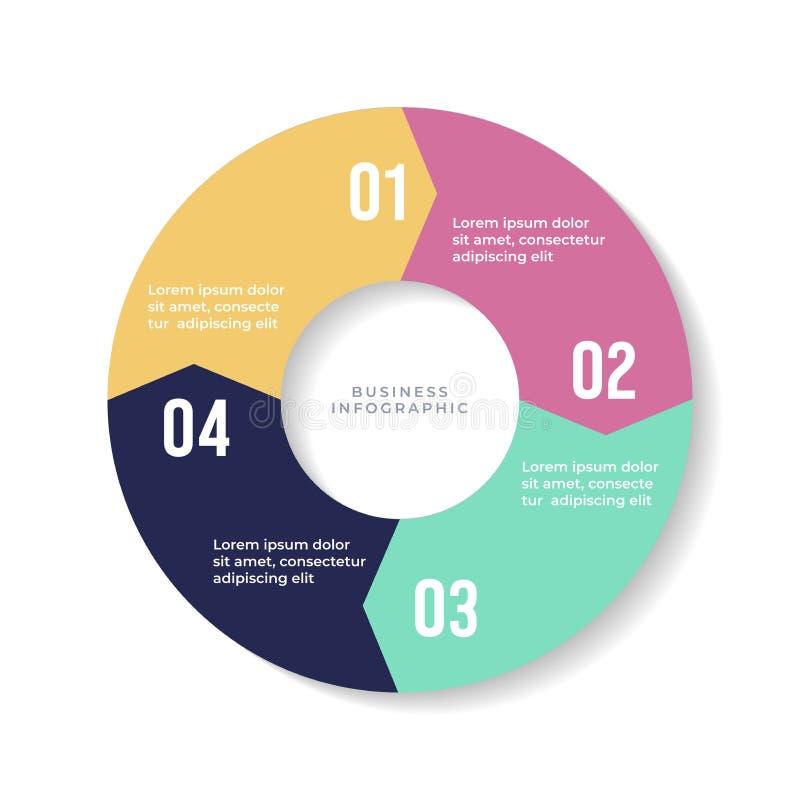 graphique circulaire de 4 étapes, flèches de cercle infographic ou diagramme circulaire illustration stock