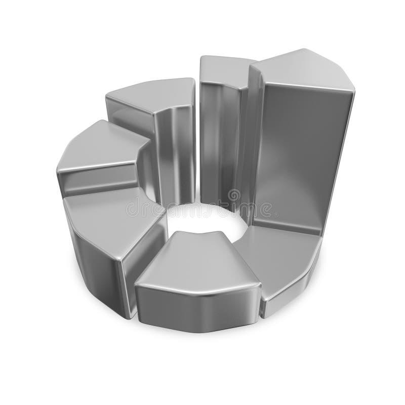Graphique circulaire de Chrome 3D de croissance d'affaires photographie stock