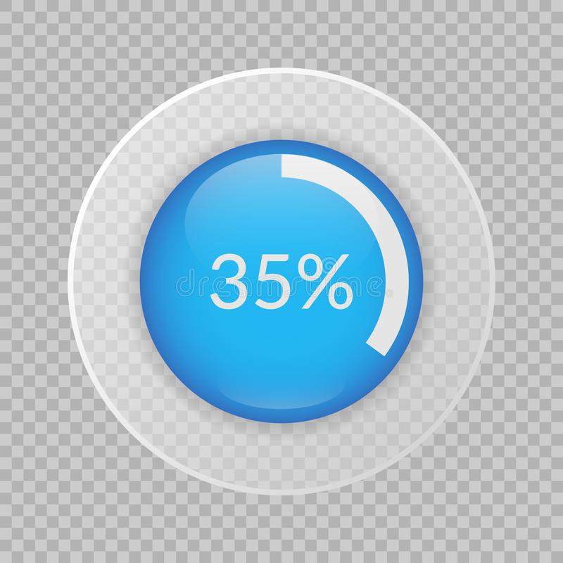 graphique circulaire de 35 pour cent sur le fond transparent Icône vectorinfographic de pourcentage pour des affaires, finances illustration stock