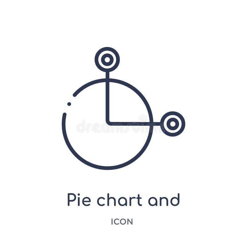Graphique circulaire et icône linéaires de connexions de collection d'ensemble d'affaires Ligne mince graphique circulaire et icô illustration stock