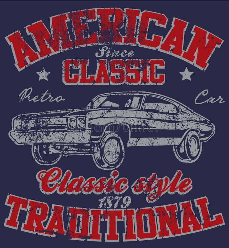 Graphique classique Desig de T-shirt d'homme de vieux vintage américain de voiture rétro illustration libre de droits