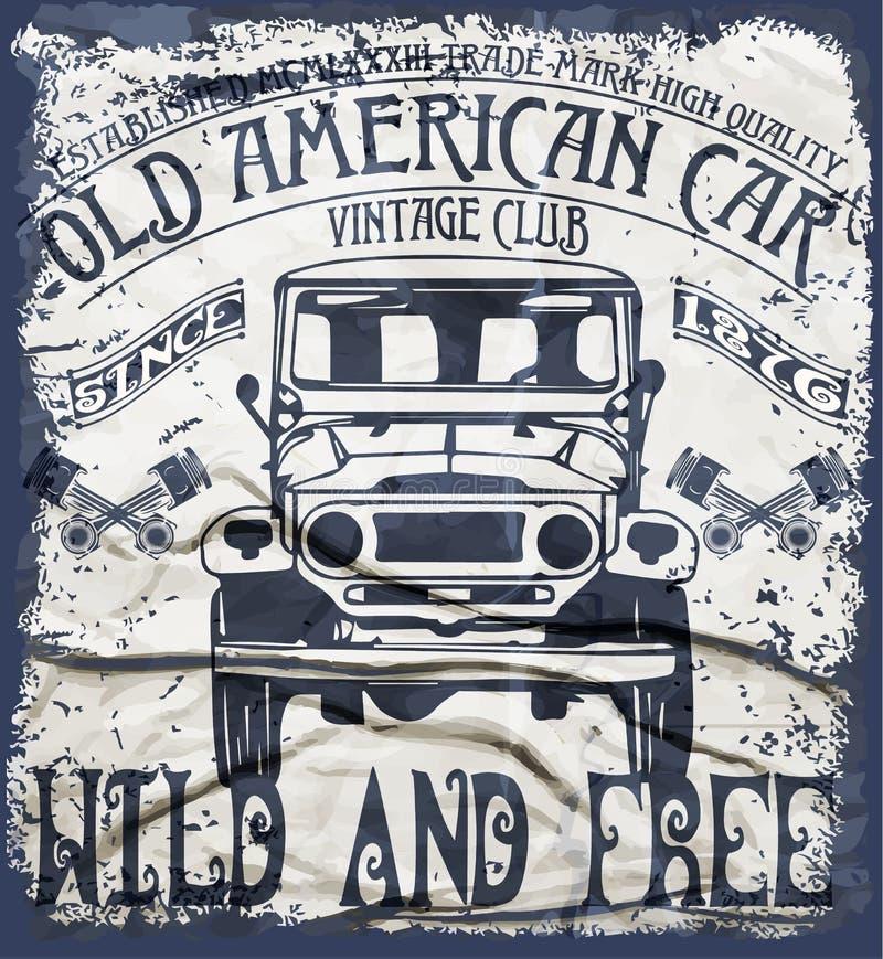 Graphique classique Desig de T-shirt d'homme de vieux vintage américain de voiture rétro illustration de vecteur