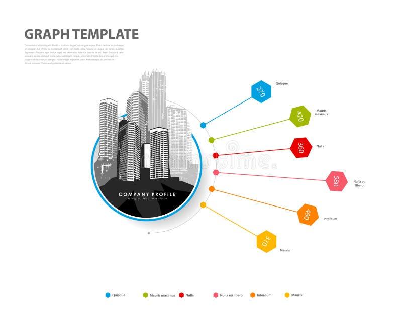 Graphique coloré de fond de vecteur d'illustration d'Infographic avec des hexagones et des figures à l'intérieur illustration stock