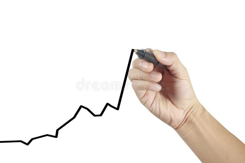 Graphique croissant de diagramme de dessin d'homme d'affaires photographie stock