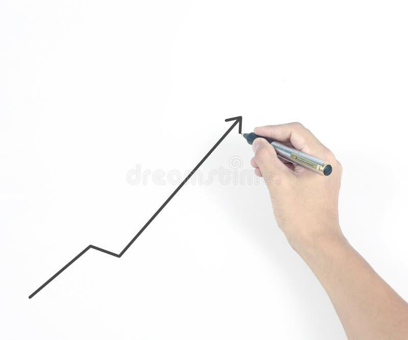 Graphique croissant de diagramme de dessin d'homme d'affaires image stock
