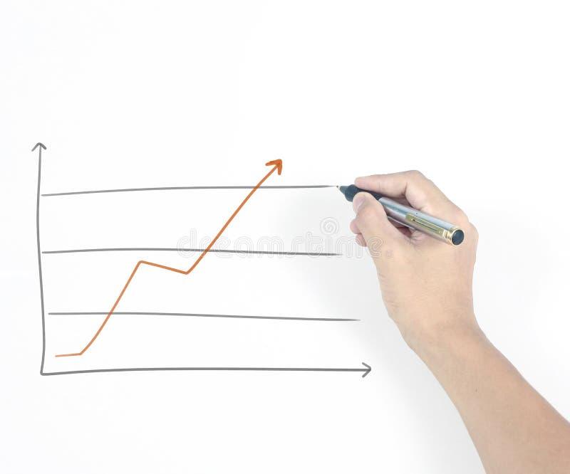 Graphique croissant de diagramme de dessin d'homme d'affaires images libres de droits