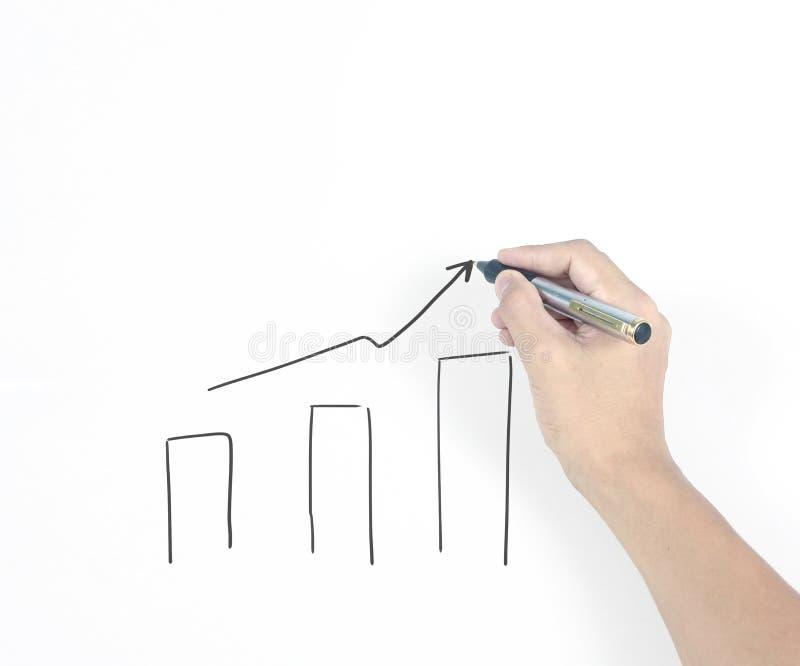 Graphique croissant de diagramme de dessin d'homme d'affaires photographie stock libre de droits