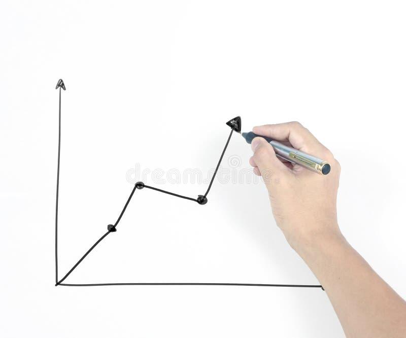 Graphique croissant de diagramme de dessin d'homme d'affaires photo stock