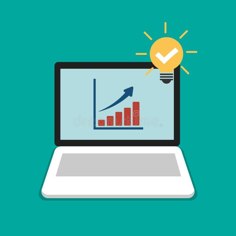 Graphique croissant Symbole d'affaires de succès sur l'ordinateur portable, l'ordinateur et le coche dans la conception plate de  illustration stock