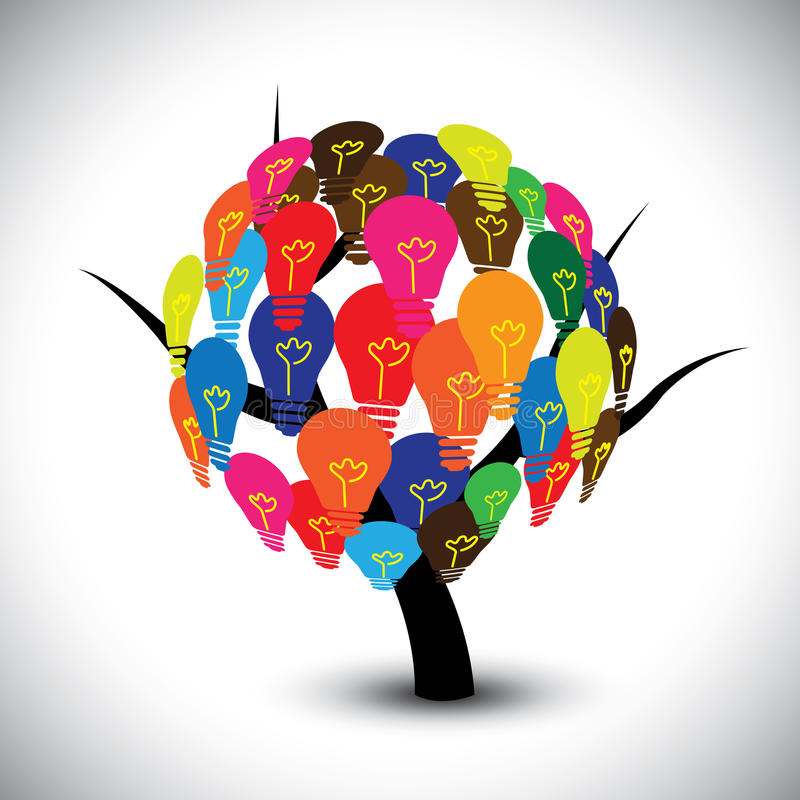 Graphique d'arbre d'idée avec les ampoules colorées comme soluti illustration libre de droits
