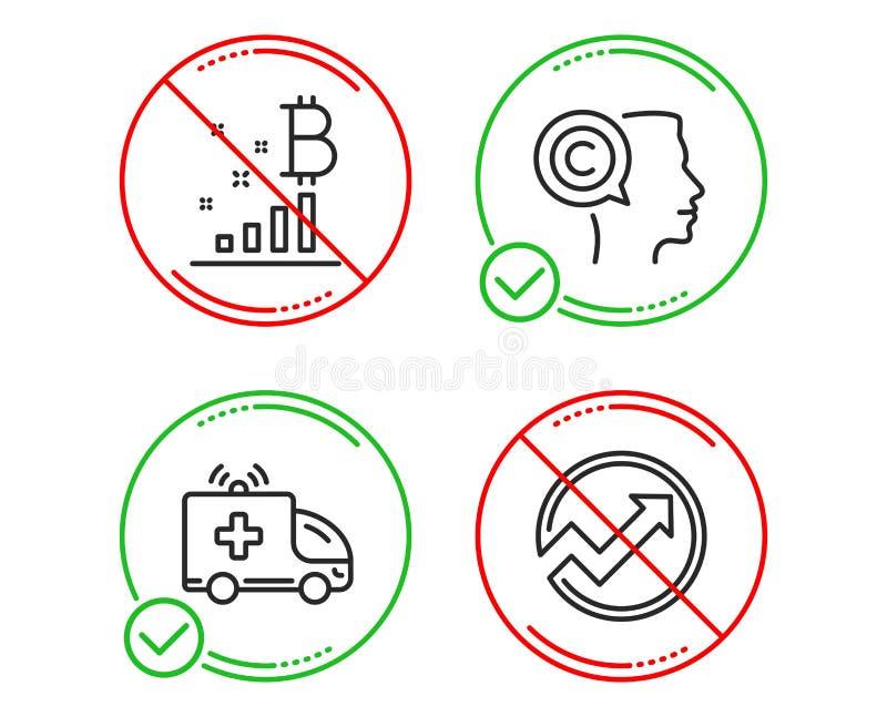 Graphique d'auteur, de Bitcoin et ensemble d'ic?nes de voiture d'ambulance Signe d'audit Vecteur illustration libre de droits