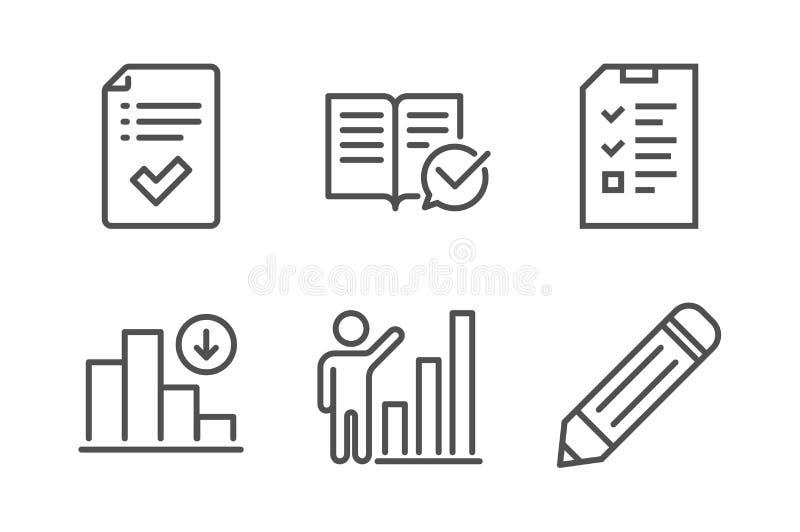 Graphique d'entrevue, de diminution et ensemble approuvé d'icônes de documentation Vecteur illustration de vecteur