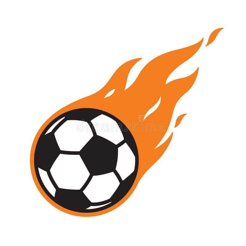 Graphique d'illustration de bande dessinée de symbole de feu du football d'icône de logo de vecteur de ballon de football illustration stock