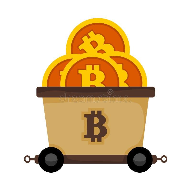 Graphique d'illustration de vecteur de train de chariot de chemin de fer d'exploitation de Bitcoin illustration stock