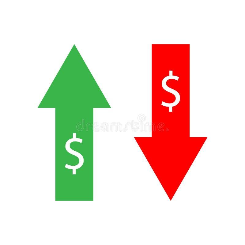 Graphique d'Infographic montrant l'abaissement du prix dans des couleurs simples sur le contexte blanc illustration stock