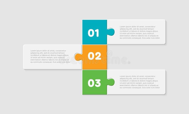 Graphique d'infographie en ligne des rectangles en trois pièces illustration stock