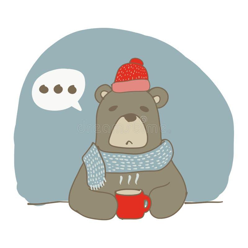 Graphique d'ours brun buvant une tasse chaude de café images stock