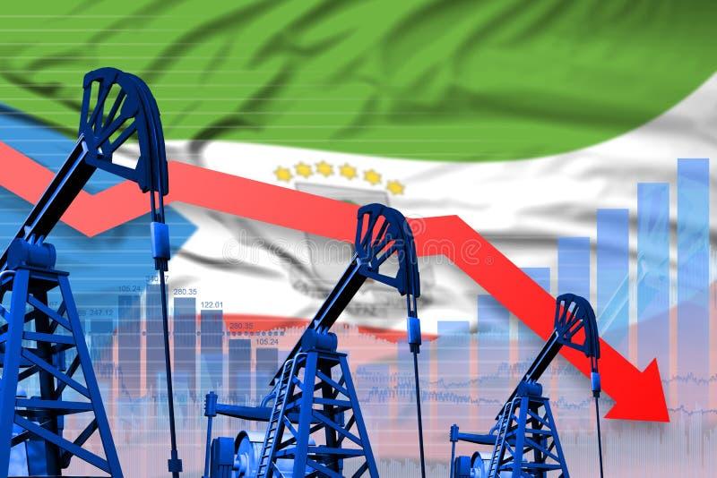 Graphique de abaissement et en baisse sur le fond de drapeau de la Guinée équatoriale - illustration industrielle d'industrie pét illustration libre de droits