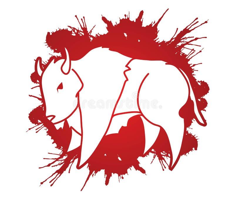 Graphique de bande dessinée d'illustration de bison de Buffalo illustration libre de droits