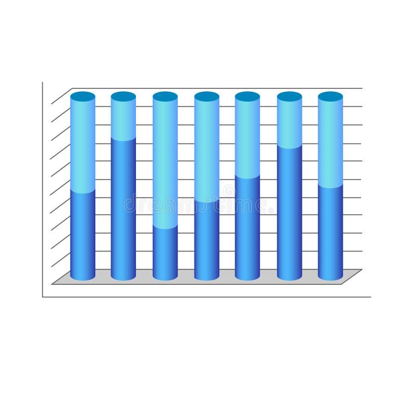 Graphique de bleu de diagramme de diagramme de cylindre du vecteur 3d illustration libre de droits