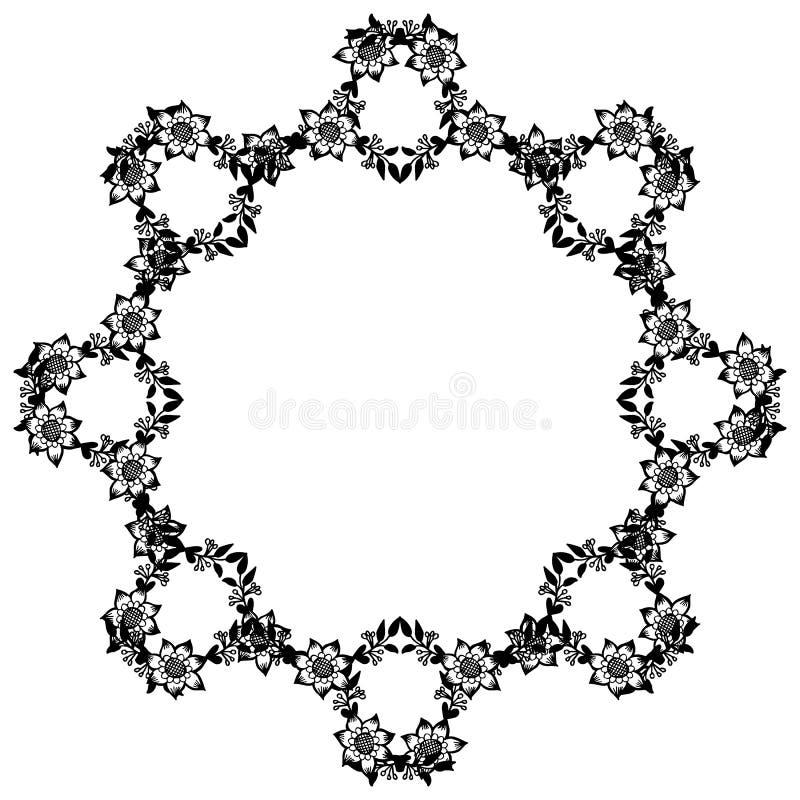 Graphique de cadre noir et blanc avec l'usine de conception du cadre floral de feuille Vecteur illustration libre de droits
