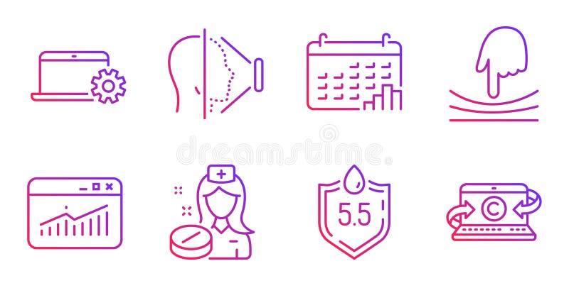 Graphique de calendrier, ensemble d'icônes de statistiques d'élastique et de site Web Identification de visage, service de carnet illustration stock