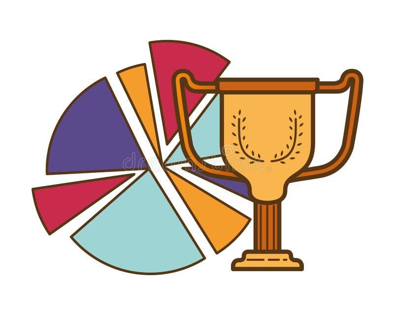 Graphique de cercle avec l'icône d'isolement par trophée illustration de vecteur