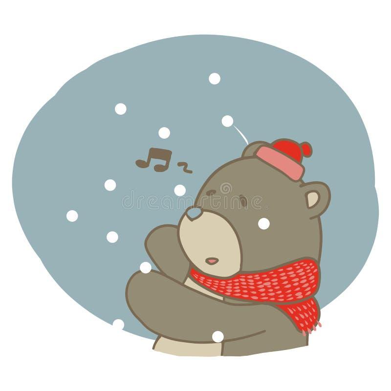 Graphique de chanter l'ours brun pendant l'hiver de la neige images libres de droits