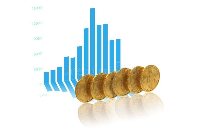 Graphique de cryptocurrency d'argent liquide de devise de Bitcoin images libres de droits