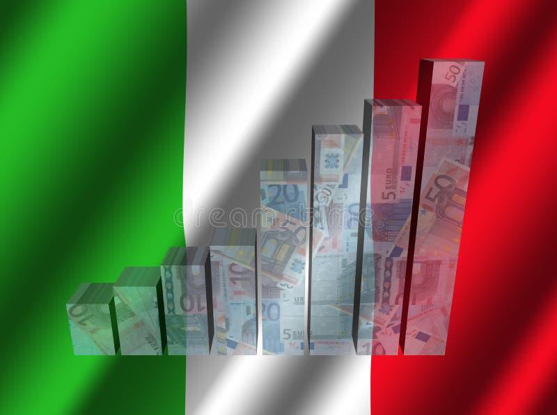 Graphique de devise sur l'illustration italienne ondulée de drapeau illustration de vecteur