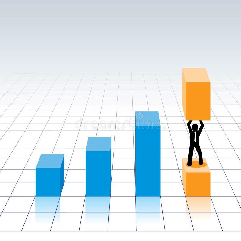 Graphique de diagramme, homme d'affaires tenant la barre illustration stock