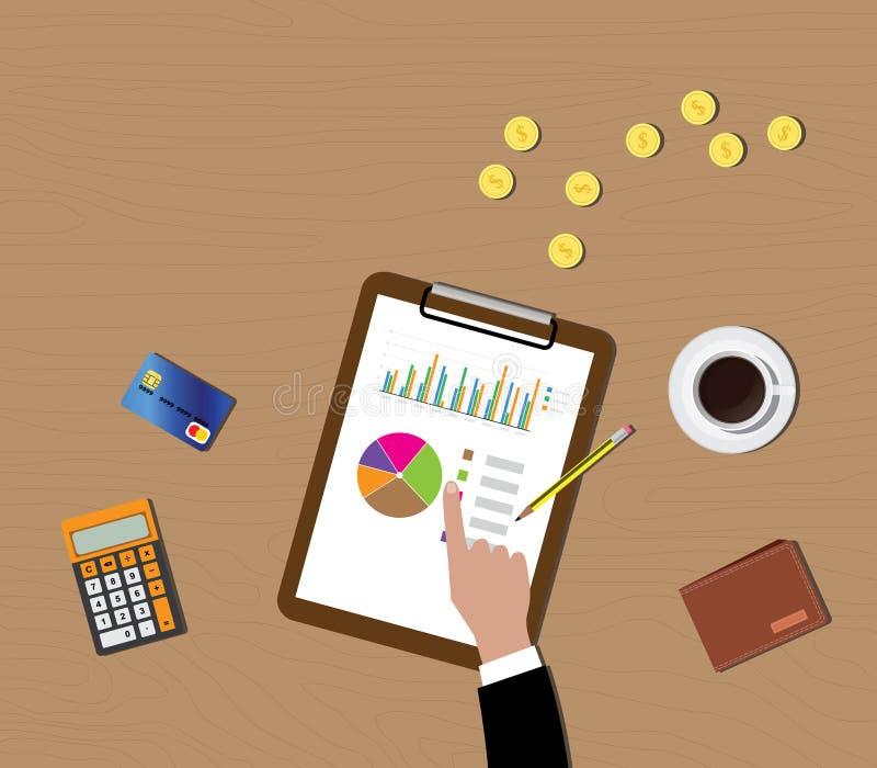 Graphique de données de fonds communs de placement mutualistes dans le presse-papiers avec le portefeuille de pièce d'or illustration stock