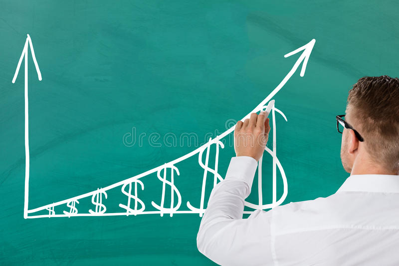 Graphique de Drawing Increasing Dollar d'homme d'affaires photos libres de droits
