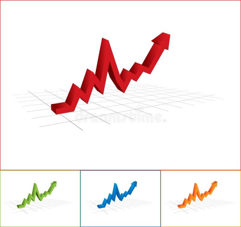 Graphique de gestion avec la flèche vers le haut illustration stock