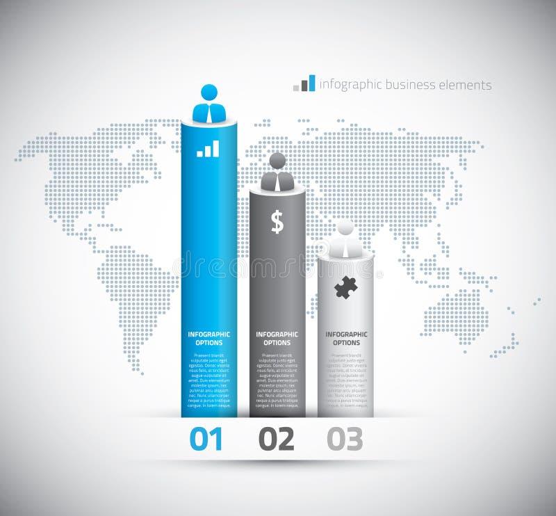 Graphique de gestion d'Infographic avec les options et le monde  illustration stock