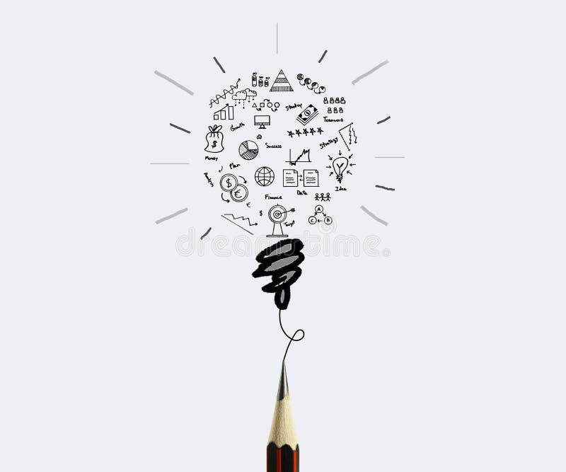 Graphique de gestion de dessin au crayon avec le concept d'ampoule pour l'idée image stock