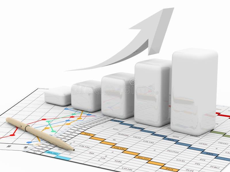 Graphique de gestion, tableau, diagramme, dessin illustration stock