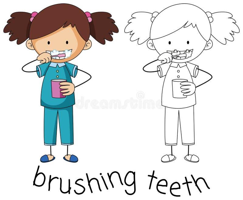 Graphique de griffonnage des dents de brossage illustration libre de droits