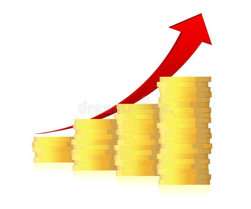 graphique de la gestion 3d avec la flèche et les pièces de monnaie illustration de vecteur