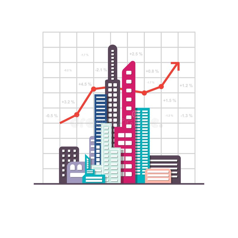 Graphique de marché boursier de croissance d'affaires de vecteur, concept de bénéfice d'investissement, immeuble de bureaux illustration de vecteur