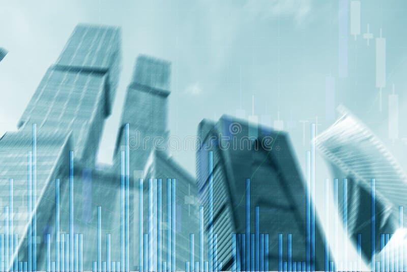 Graphique de march? boursier et diagramme de chandelier de barre sur le fond futuriste de ville illustration stock