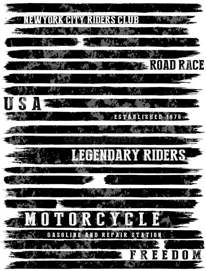 Graphique de pièce en t de typographie de slogans de moto illustration libre de droits